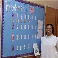 Sr. Mary Therese Perez with her QR Code Advent Calendar